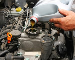 Car oil change with inspection